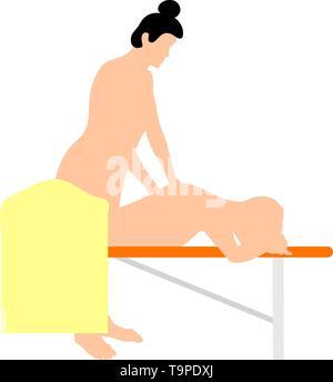 Woman Massage Icon. Flat Color Design. Vector Illustration. - Stock Image