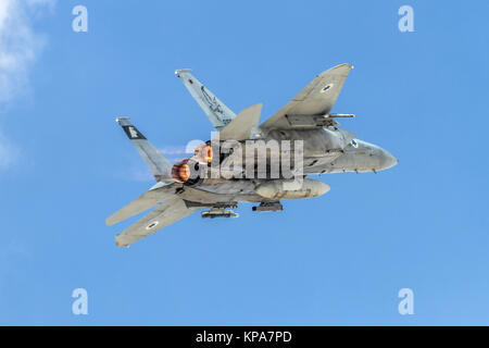 """Israeli Air Force (IAF) McDonnell Douglas F-15D in flight with a blue sky background .  Photographed at the  """"Blue - Stock Image"""