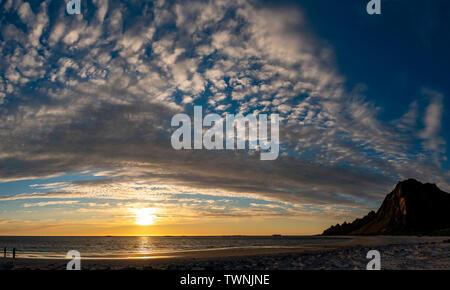 Midnight sun on Bleik beach, Andenes, Vesteralen, Andoya, Norway. - Stock Image
