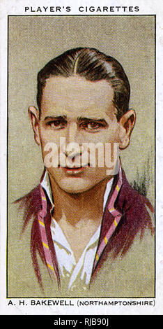 A H Bakewell, Northamptonshire County and England cricketer. - Stock Image