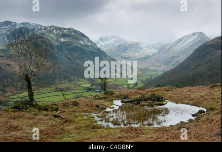 A rainy April day in Borrowdale, the English Lake District - Stock Image