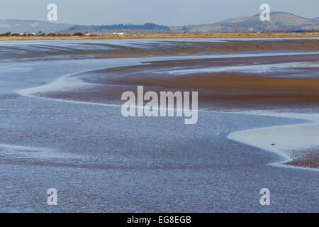 River Parrett estuary on edge of Steart Marshes, looking at Brean Down far right. - Stock Image