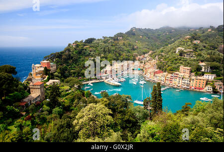 View of Portofino - beautiful town of Ligurian coast, Italy - Stock Image