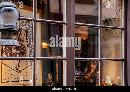Face At The Window Stockholm Sweden - Stock Image