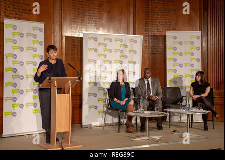 London, United Kingdom. 22 January 2019. People Vote 'Shining a light on alternative Brexit plans' press conference held at the Royal Institute of Chartered Surveyors building in central London. Pictured: Caroline Lucas (L), Jo Swinson, David Lammy, Bridget Phillipson. Credit: Peter Manning/Alamy Live News - Stock Image