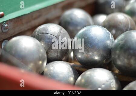 Close-Up Of Shiny Metal Balls - Stock Image