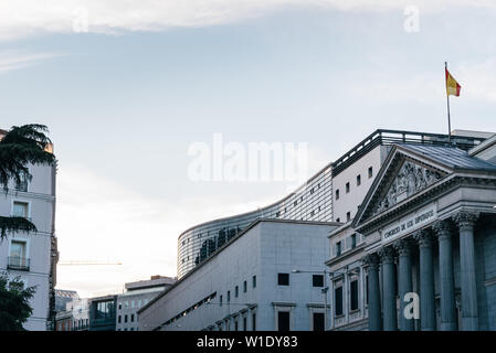 Madrid, Spain - April 14, 2019: View of the Congress of Deputies of Spain in Madrid at evening. - Stock Image