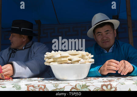 Naadam Festival in Khatgal, Mongolia. The jury of the wrestling competition - Stock Image