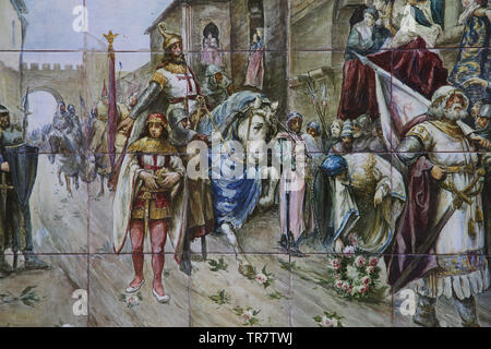 Conquest of the Kingdom of Valencia.1238. Triumphal entry of  Jaime I of Aragon. Glazed tiles. Spain Square. Seville, Spain. - Stock Image