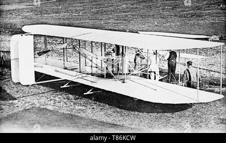 The Wright Flyer III. The Wright Flyer III was the third powered aircraft by the Wright Brothers, built during the winter of 1904-05. Orville Wright made the first flight with it on June 23, 1905. - Stock Image