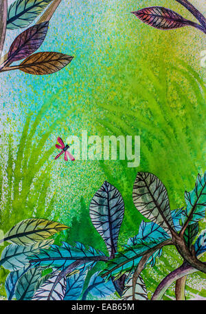 Child's art project: dragonfly - Stock Image