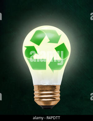Recycling symbol inside floating light bulb with copy space. Concept of ecology, environmental conservation; green alternative. Elements of this image - Stock Image