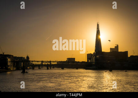 Sunrise over The Shard Building and River Thames, London, England - Stock Image