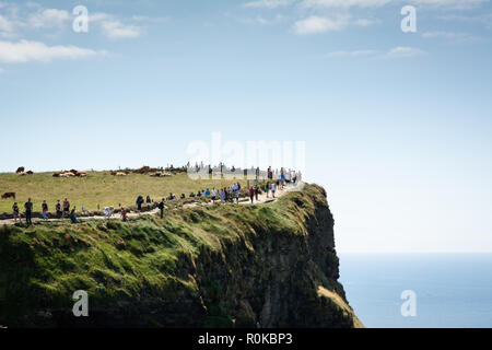 Lots of tourists walking on a sunny day on the Cliffs of Moher, Ireland - Stock Image