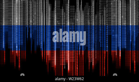 binary system code in colors of russian flag - Stock Image
