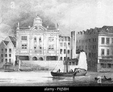 This theatre was built by Sir Christopher Wren, and housed a theatre company which had moved from Little Lincolns-Inn Fields. Demolished in 1709.     Date: 1814 - Stock Image