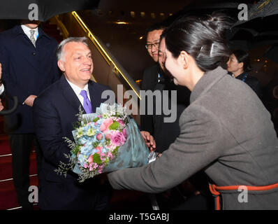 Beijing, China. 24th Apr, 2019. Hungarian Prime Minister Viktor Orban arrives in Beijing, capital of China, April 24, 2019, to attend the Second Belt and Road Forum for International Cooperation (BRF). Credit: Chen Yehua/Xinhua/Alamy Live News - Stock Image