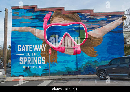 High Springs, Florida is gateway to North Central Florida's popular natural freshwater springs. - Stock Image