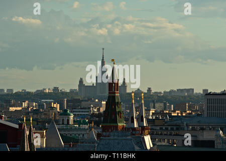 MOSCOW, AUGUST 7, 2018: View of Moscow city, Corner Arsenal tower of the Kremlin, tall building of Moscow State University on Sparrow Hills in the bac - Stock Image