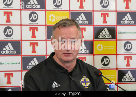 Windsor Park, Belfast, Northern Ireland. 20 March 2019. Northern Ireland manager Michael O'Neill at today's press conference in Belfast. Northern Ireland play Estonia at Windsor Park tomorrow  evening in their opening UEFA EURO 2020 Qualifying game. Credit: David Hunter/Alamy Live News. - Stock Image