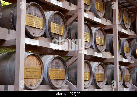 Detail of Meiji Jingu temple wine barrels in perspective in Yoyogi Park, Tokyo, Japan. - Stock Image