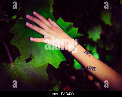Girl with temporary tattoo places hand on leaf - Stock Image