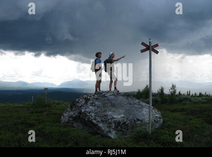 Two woman hiking - Stock Image
