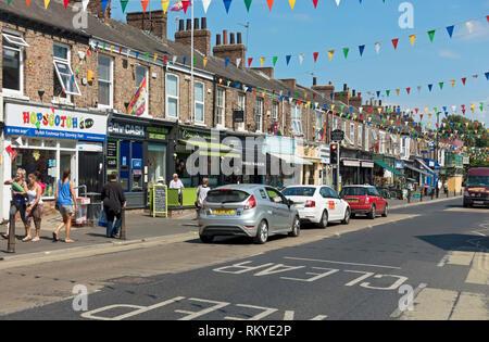 Shops on Bishopthorpe Road in York. - Stock Image