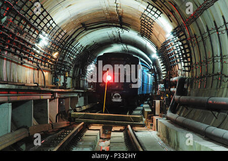 The Metro train in the tunnel - Stock Image