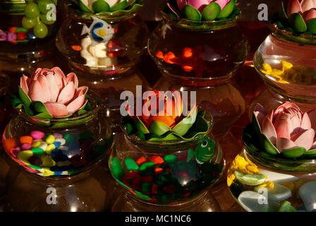 Decoratives home decor artificial flower vases bottles for sales in Odisha India - Stock Image