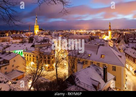 Winter dawn in Tallinn old town. - Stock Image
