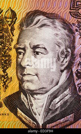 Joseph Banks (1743-1820) on 5 Dollars 1967 banknote from Australia. English naturalist and botanist. - Stock Image