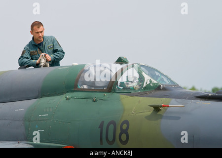 Croatian Air Force MiG-21 BISD '108' fighter being refueled, Pleso AFB during 'open day' visit in - Stock Image