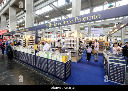 Turin, Piedmont, Italy, 10th May, 2018. International Book fair 2018,first day.Sellerio publisher's stand Credit: RENATO VALTERZA/Alamy Live News - Stock Image