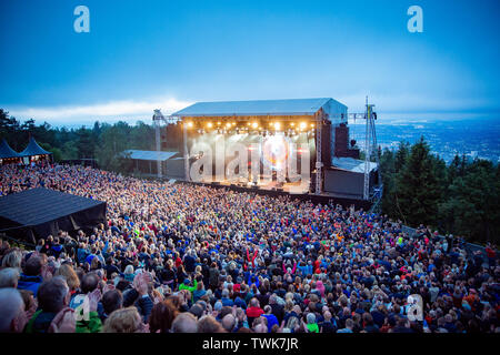 Oslo, Norway. 20th June, 2019. Oslo, Norway - June 20th, 2019. The Overlooking the stage area during a live concert at the Norwegian music festival OverOslo 2019 in Oslo. (Photo Credit: Gonzales Photo/Alamy Live News - Stock Image
