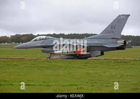 Aviano based F16CM aircraft with Beechcraft AQM-37Jayhawk air-launched supersonic target drone during 2017 joint - Stock Image