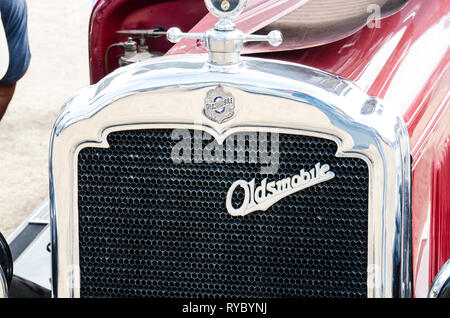 Radiator of a 1927 Oldsmobile Cabriolet. On display near Tamworth Australia March 2019. - Stock Image