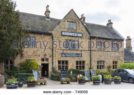 The front and entrance to the Hardwick Inn, Chesterfield, Derbyshire, England, UK - Stock Image