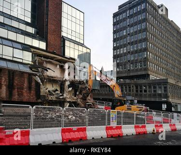 Glasgow, UK, 11th February 2019 - Demolition of the former Strathclyde Police headquarters has commenced, to make space for a new Holland Park hotel development Credit: Pawel Pietraszewski / Alamy Live News - Stock Image