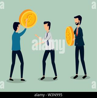 businessmen teamwork with coins and elegant clothes - Stock Image