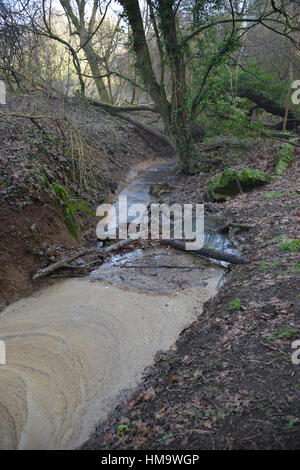 Stagnant water on stream flowing through part of the north Oxfordshire village of Hook Norton - Stock Image