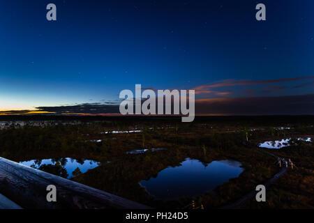 Kemeru swamp in the night in June. - Stock Image