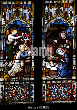 East window by Lavers, Berraud and Westlake, St Peter's Church, Deene, Northamptonshire; Detail; Nativity and - Stock Image