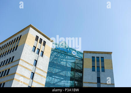 The Headquarters of the United Nations High Commissioner for Refugees / UNHCR, a modern office block, in Geneva, Switzerland. - Stock Image