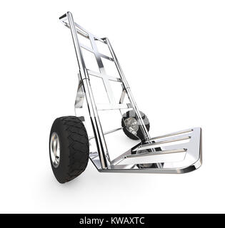 Perspective view of a Hand truck of metal. 3d Render. - Stock Image