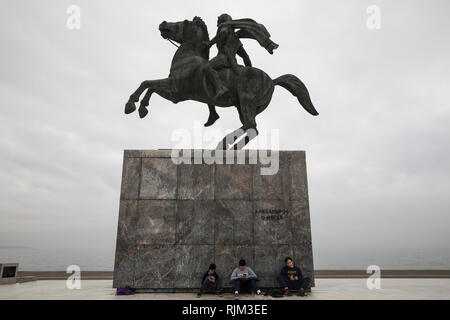 Alexander the Great statue, Thessaloniki, Greece on November 20, 2018. - Stock Image
