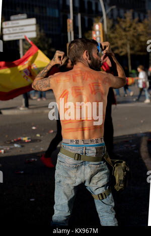 Anti independance supporters in Barcelona, Spain. October 29. 2017 - Stock Image