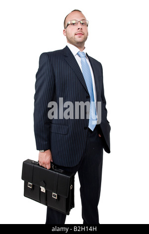 businessman with business bag on isolated background - Stock Image