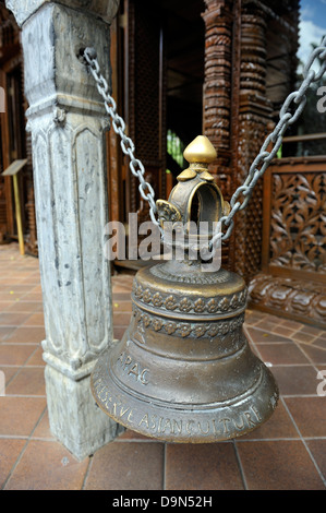Large cast bell at the Nepal Peace Pagoda, South Bank Parklands, Brisbane, Queensland - Stock Image