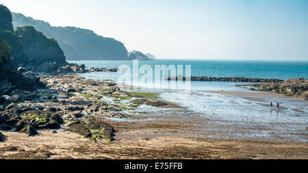 Combe Martin seaside holiday resort in Devon UK on a bright sunney day - Stock Image